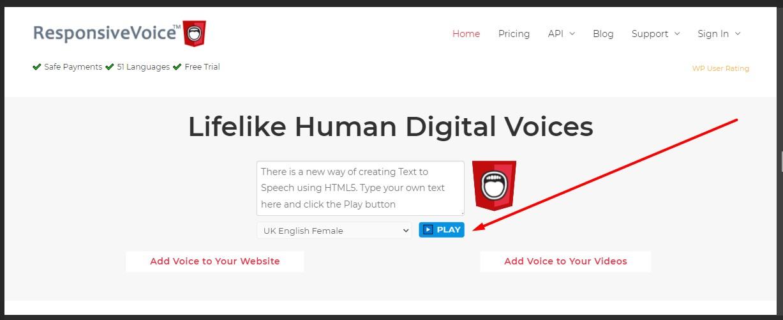 kolom teks pada aplikasi responsive voice