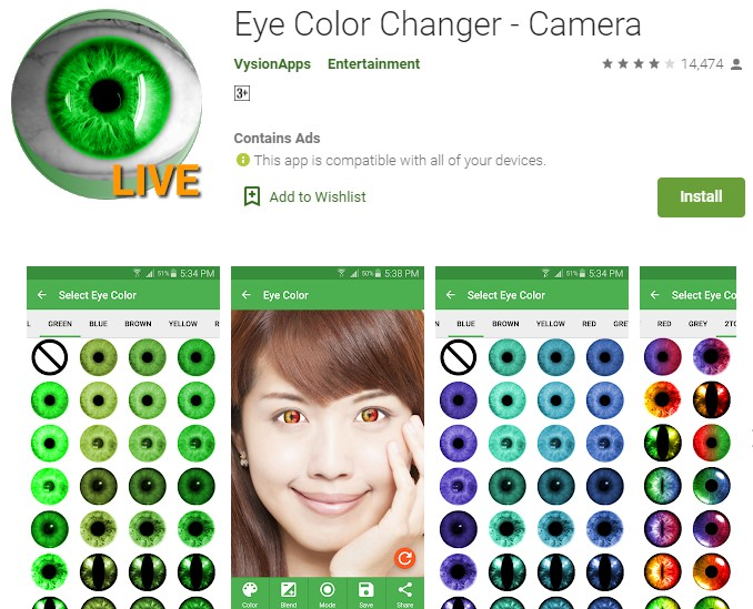 Aplikasi perubah bentuk Mata