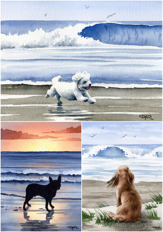 Dogs on Beach Prints Watercolor