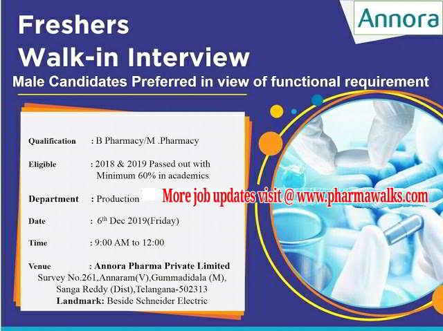 Annora Pharma walk-in interview for B.Pharm / M.Pharm Freshers on 6th Dec' 2019