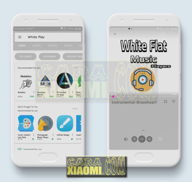 Download Link Xiaomi Theme Mtz White Flat Final Mtz for MIUI New Look Themes