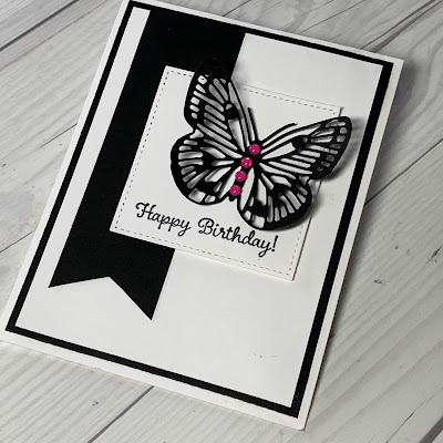 Birthday card using Brilliant Wings butterfly die from the Stampin' Up! Butterfly Brilliance Bundle