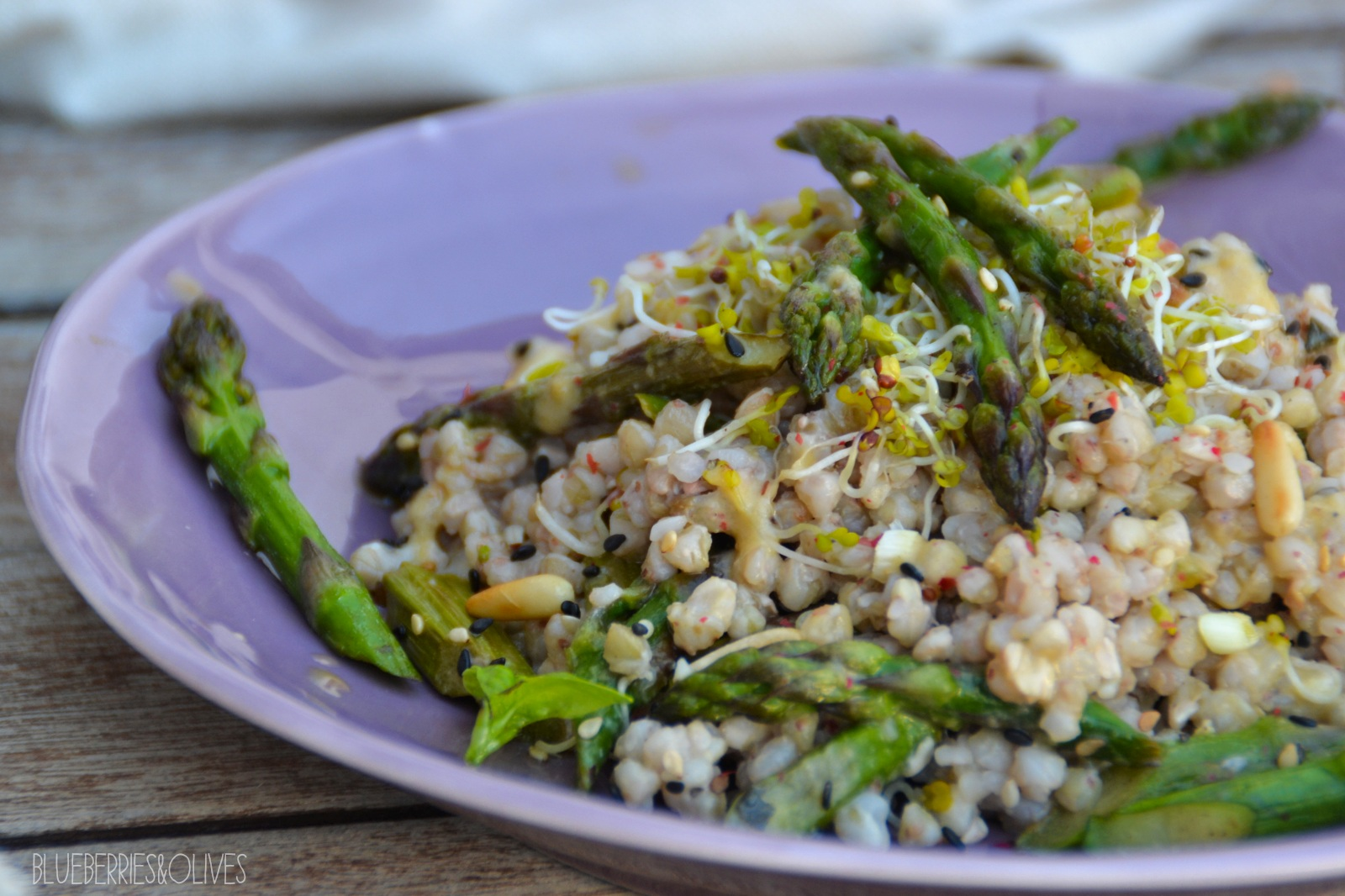 ... AND OLIVES: BUCKWHEAT AND ASPARAGUS SALAD WITH TAHINI DRESSING