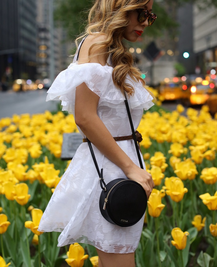 Chicwish Lovely Petals Frilling Babydoll Dress in White, lwd, sole society cognac flatform espadrille sandals, espadrille sandals, furla yoyo crossbody bag set, nyc street style, spring style in nyc, le specs sunglasses, nyc fashion blog