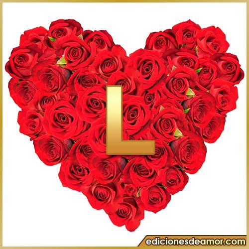 corazón de rosas con letra L
