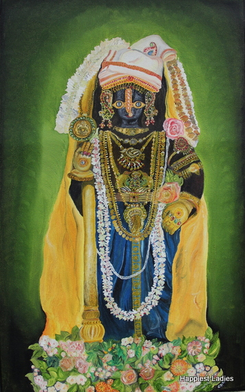 Udupi Sri Krishna oil painting on canvas