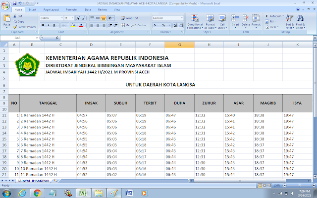 Jadwal Imsakiyah Ramadhan 1442 H Kota Langsa, Provinsi Aceh