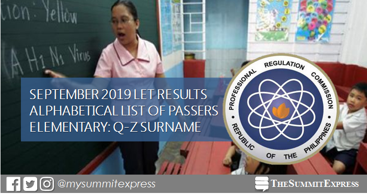Q-Z Passers List: September 2019 LET Results Elementary