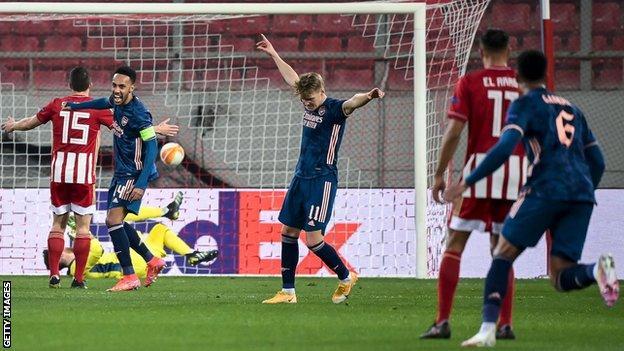Martin Odegaard celebrates scoring for Arsenal