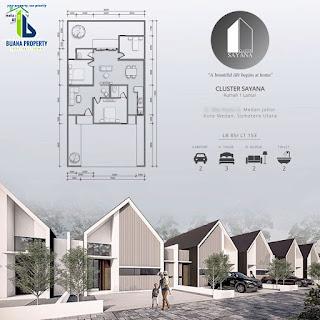 Tipe 85 - Jual Rumah desain kekinian, DISKON 100 Juta, Row jalan komplek 8 meter di Medan Johor - Cluster Sayana