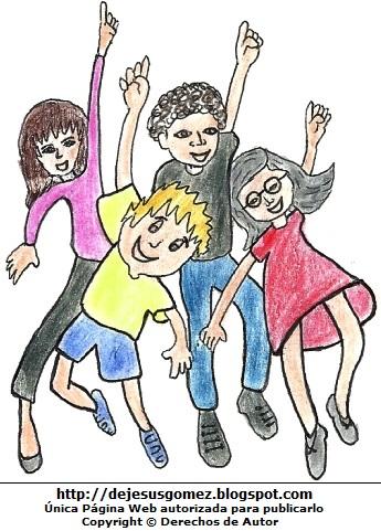 Dibujo de niños levantando las manos y pintado a colores. Dibujo de Niños levantando la mano de Jesus Gómez