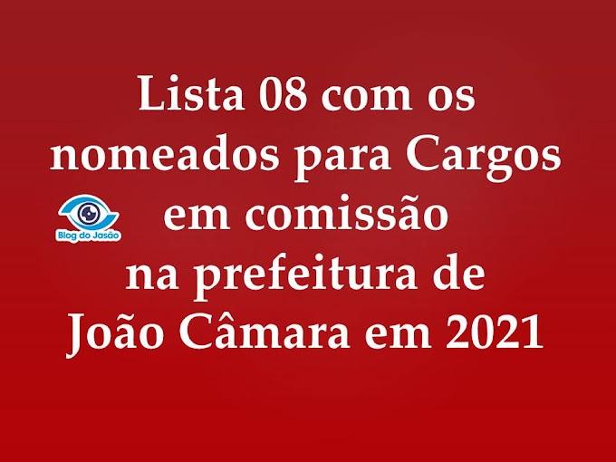 Lista 08 com os nomeados para Cargos  em comissão na prefeitura de João Câmara em 2021