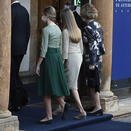 Queen Letizia wore a flower embellished long sleeved dress from Delpozo. Crown Princess Leonor, Infanta Sofia and Queen Sofiaç Felipe Varela