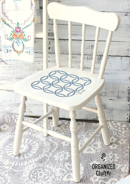 Upcycled & Stenciled Garage Sale Chair