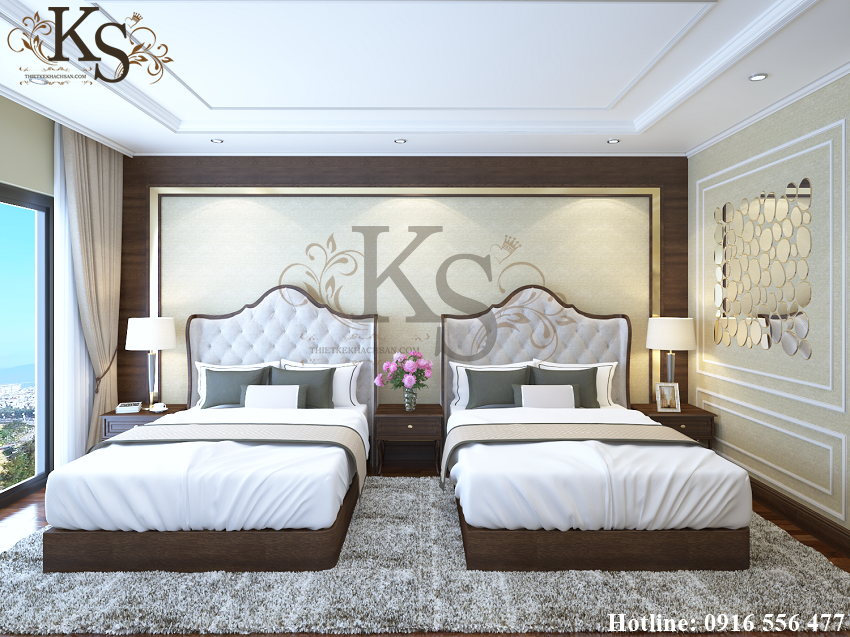 Hình ảnh: Cách bố trí giường ngủ đặt song song tựa như các căn phòng trước đó đảm bảo sự đồng nhất giữa các phòng ngủ tại khách sạn La MaiSon.
