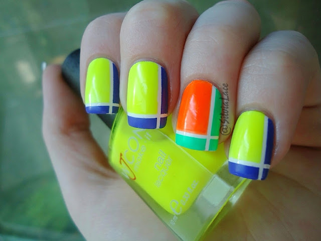 Silvia Lace Nails: Neon Tape Manicure