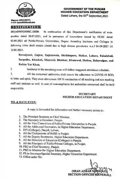 Higher Education Department Notification