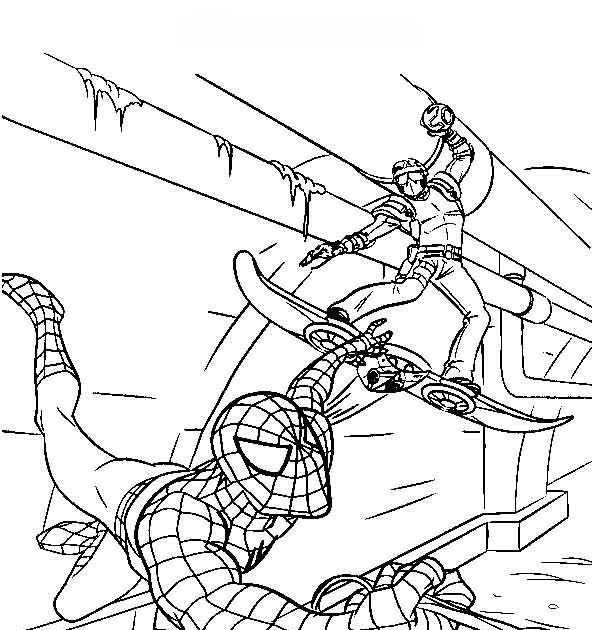 Spiderman Fight Coloring Pages To Boys