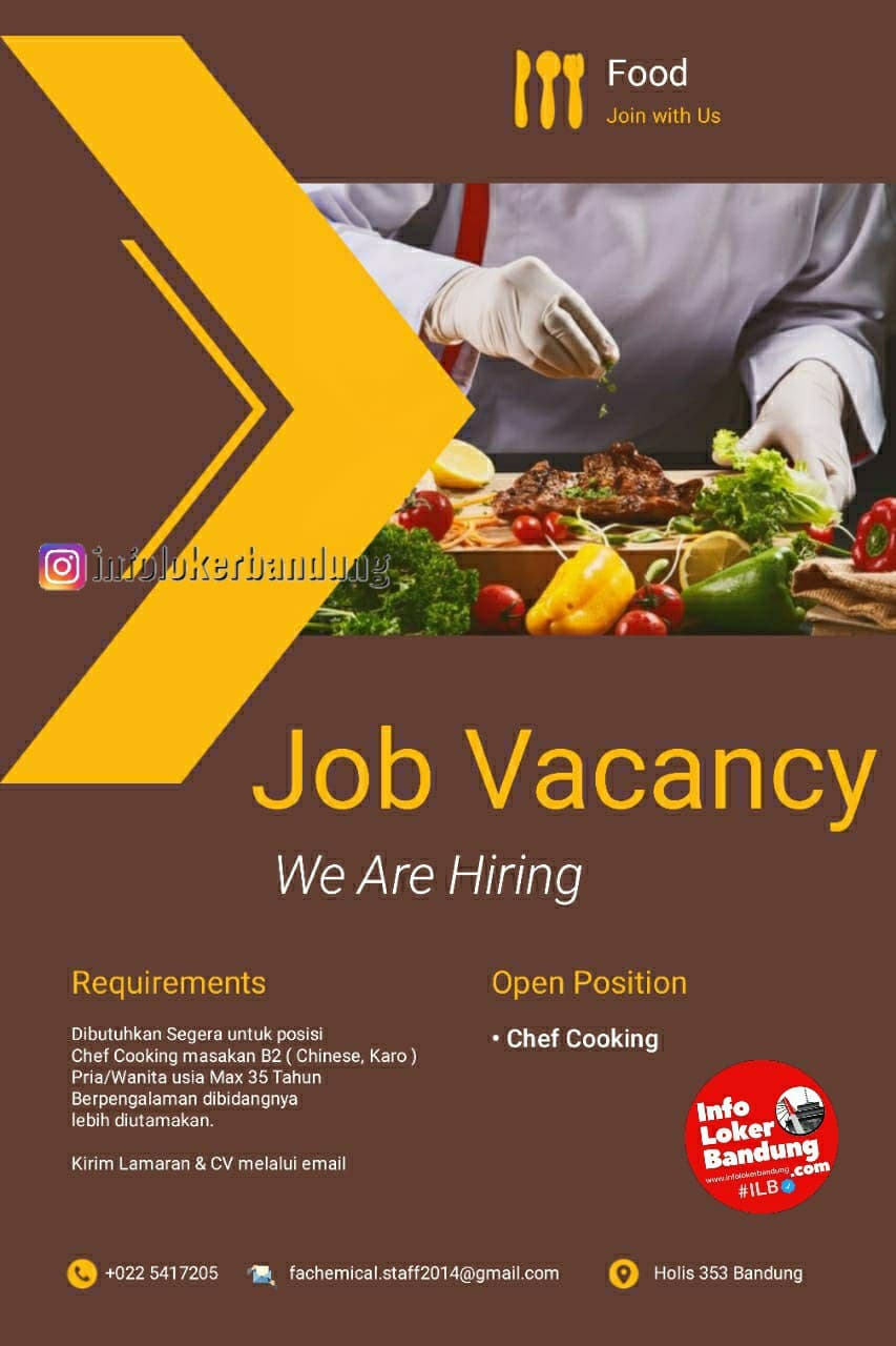 Lowongan Kerja Chef Cooking Bandung April 2021