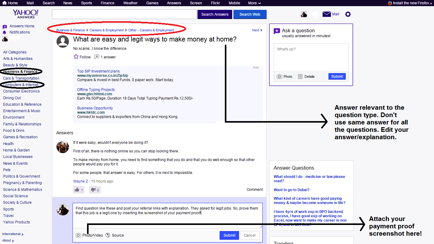 Yahoo answers helps to get more PTC referrals