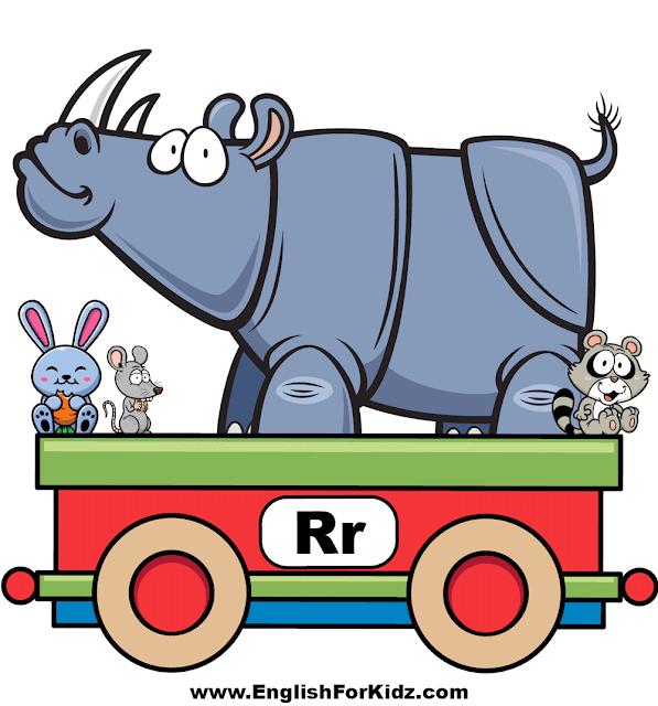 Letter R is for rhino, rabbit, rat, raccoon - ABC train wall decor