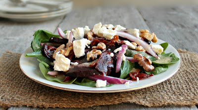 Spinach Salad with Beets, Bacon, Walnuts and Goat Cheese