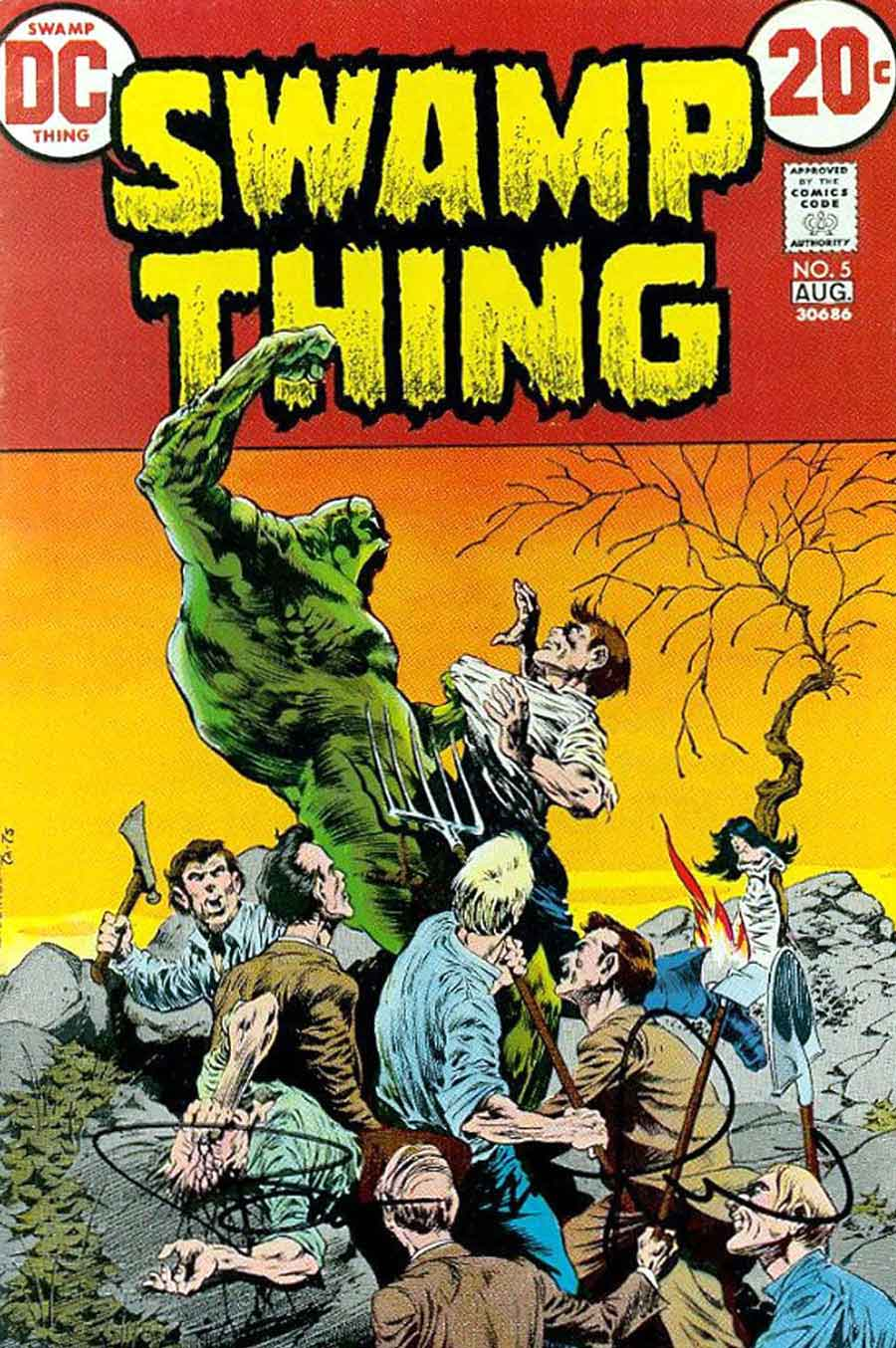 Swamp Thing v1 #5 1970s bronze age dc comic book cover art by Bernie Wrightson