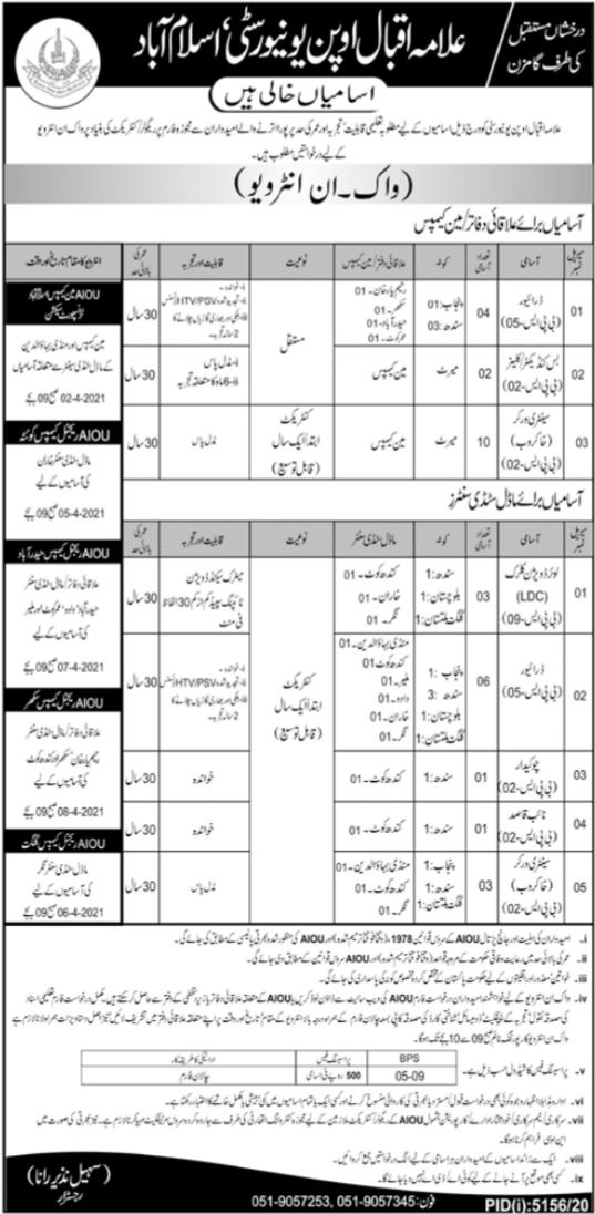 Allama Iqbal Open University Regional Offices Study Center Jobs 2021