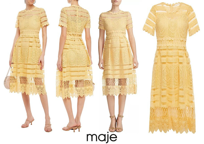 Princess Tessy of Luxembourg wore Maje Paris Roseray Lace Midi Dress