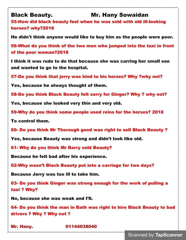 مراجعه أسئلة قصه اللغه الانجليزيه للصف الثالث الاعدادي ترم ثاني  مستر/ هاني سويدان 8