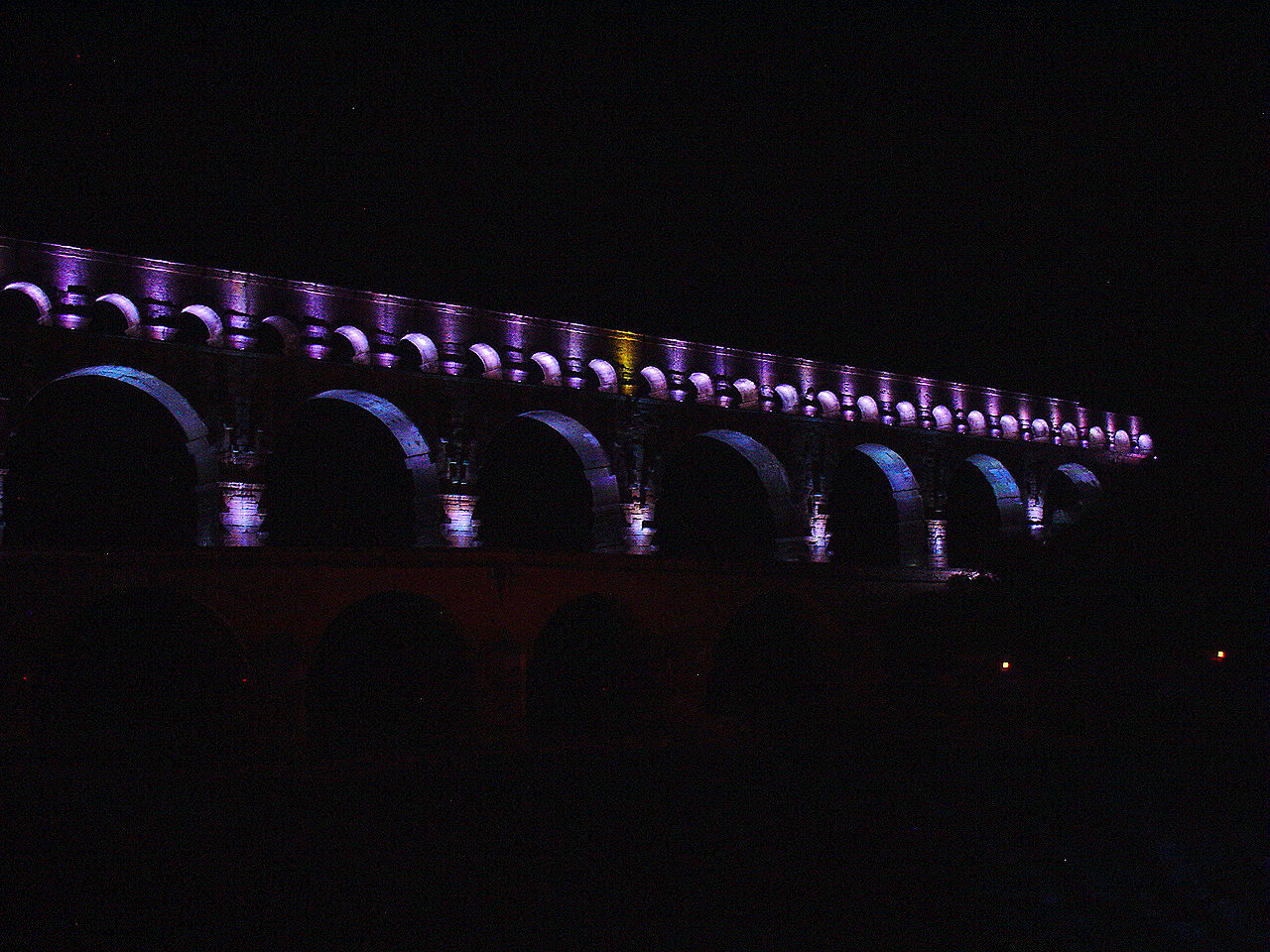 One moment during the epic light and projection show at le Pont du Gard.