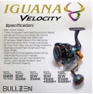 Spesifikasi Reel Bullzen Iguana Velocity 800