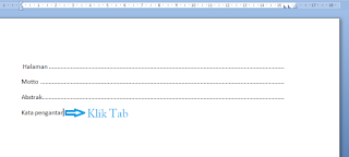 cara membuat titik-titik dengan menggunakan tombol tab