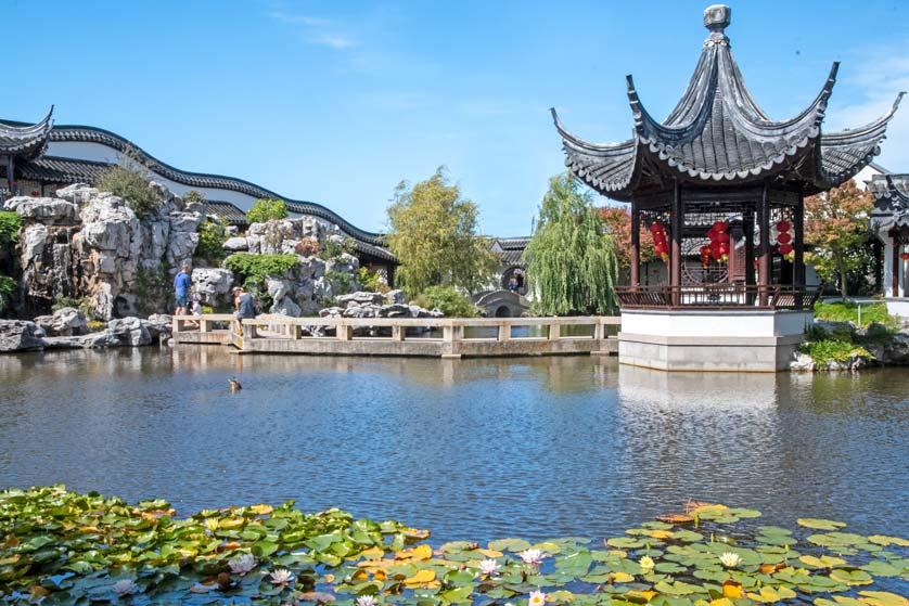 Pond with pagoda, Lan Yuan Dunedin Chinese Garden, Dunedin, New Zealand.