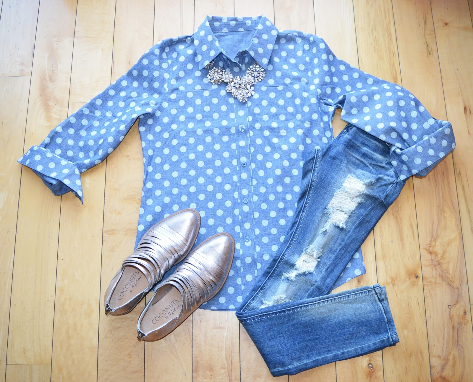 http://taralynnsboutique.com/collections/long-sleeves/products/polka-dot-chambray-shirt