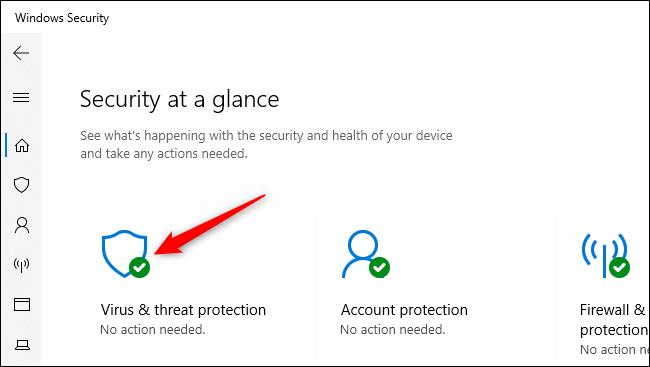 فتح إعدادات الحماية من الفيروسات والمخاطر في أمن Windows.فتح إعدادات الحماية من الفيروسات والمخاطر في أمن Windows.