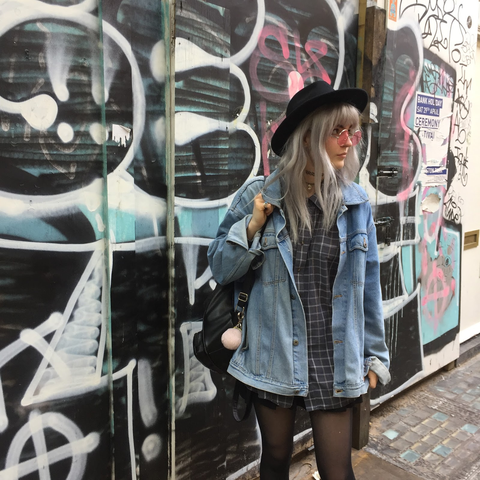 Silver hair grunge outfit