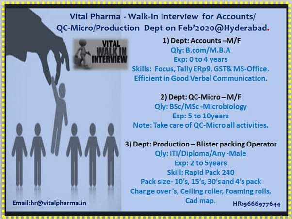Vital Pharma – Walk-In Interviews for QC-Micro / Production / Accounts on Feb' 2020