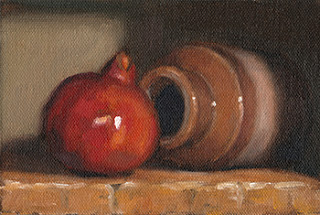 Still life oil painting of a pomegranate beside and earthenware jar on its side.