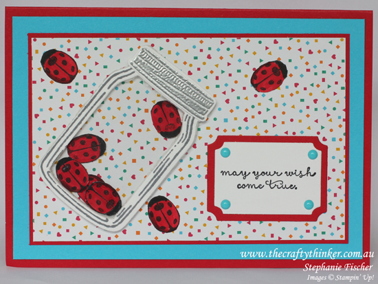 Stampin Up, #thecraftythinker, Shaker Card without foam, Jar of Love, Ladybirds, Stampin Up Australia Demonstrator
