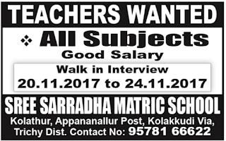 Sree Sarradha Matric School Conducting Walk-in for Teachers