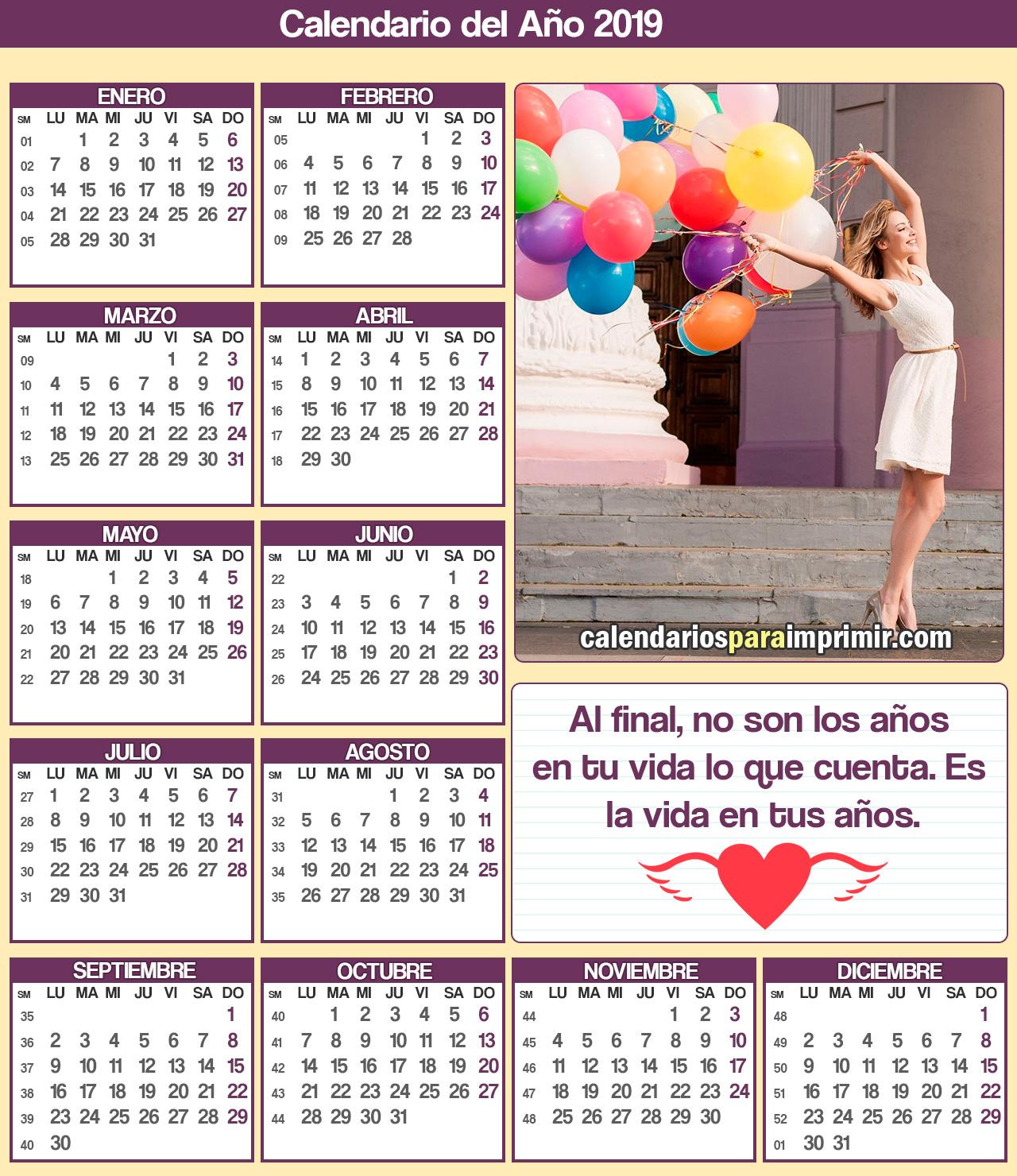 calendario 2019 para imprimir con mensajes