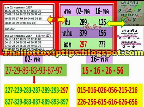 Thai Lotto Possible Sets Tass Tip Touch paper  for 16-05-2014