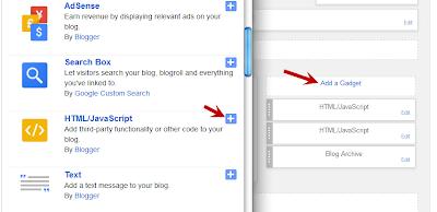 Add a Gadget > pilih HTML/JavaSript