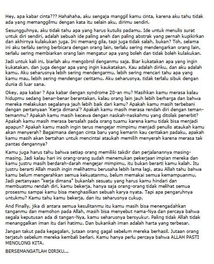 Contoh Surat Pribadi Singkat untuk Diri Sendiri (via: kompasiana.com)