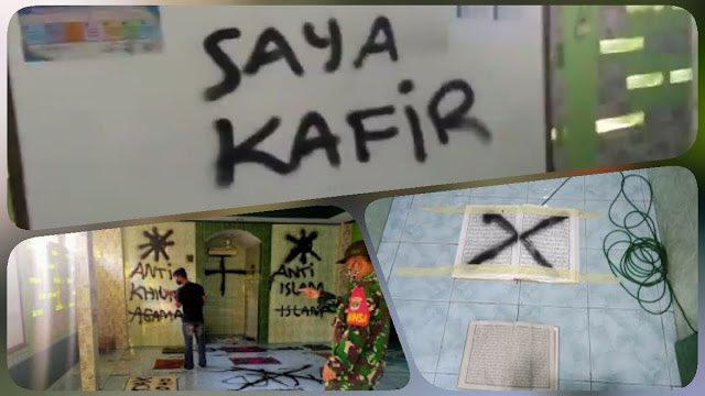"""Jelang G30 S PKI,  Dinding Mushola Dicoret """"Saya Kafir"""" dan Sobek Alquran"""