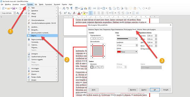 finestra di configurazione del formato del documento in libreoffice