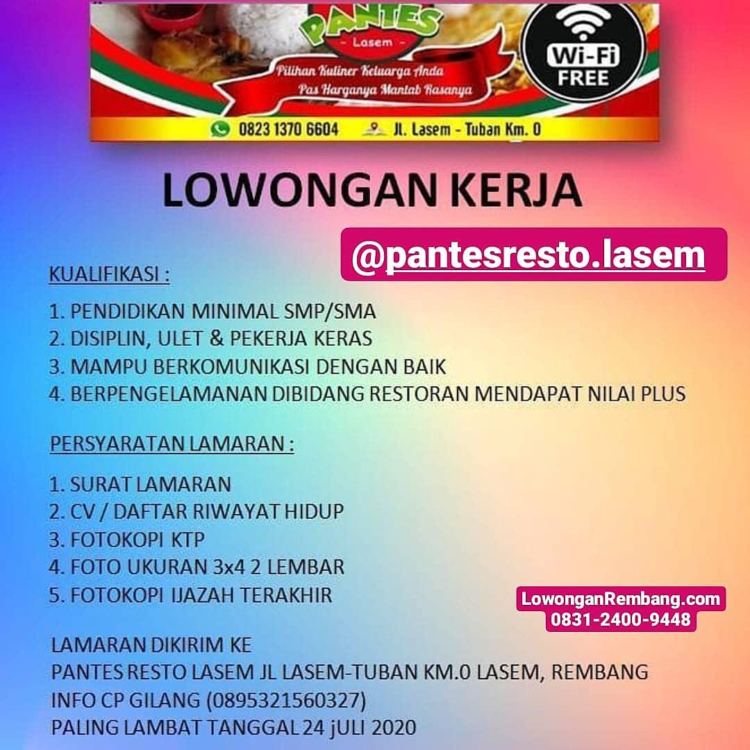 Pantes Resto Lasem Rembang Membuka Lowongan Kerja Karyawan / Karyawati Minimal SMP