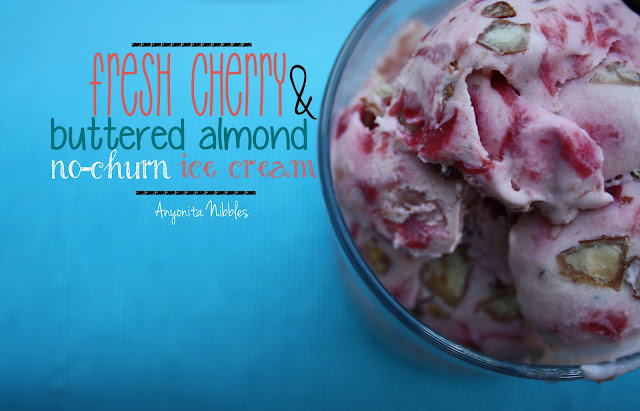 Fresh Cherry & Buttered Almond No-Churn Ice Cream