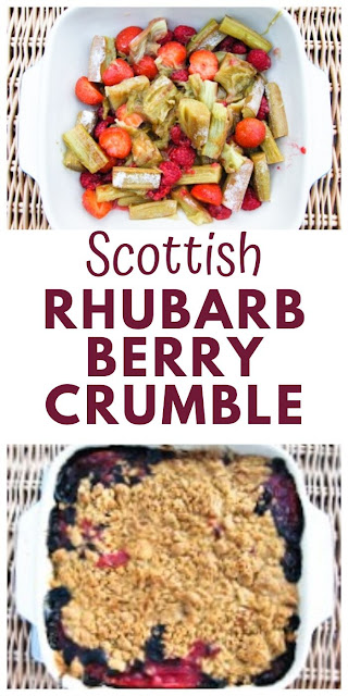 Scottish Rhubarb & Berry Crumble. A traditional Scottish pudding, that's easy to make with fresh fruit or frozen fruit. Families love this fruity dessert with custard or ice cream. #rhubarbcrumble #rhubarbcrisp #berrycrumble #berrycrisp #fruitcrisp #fruitcrumble #scottishcrumble #scottishpudding
